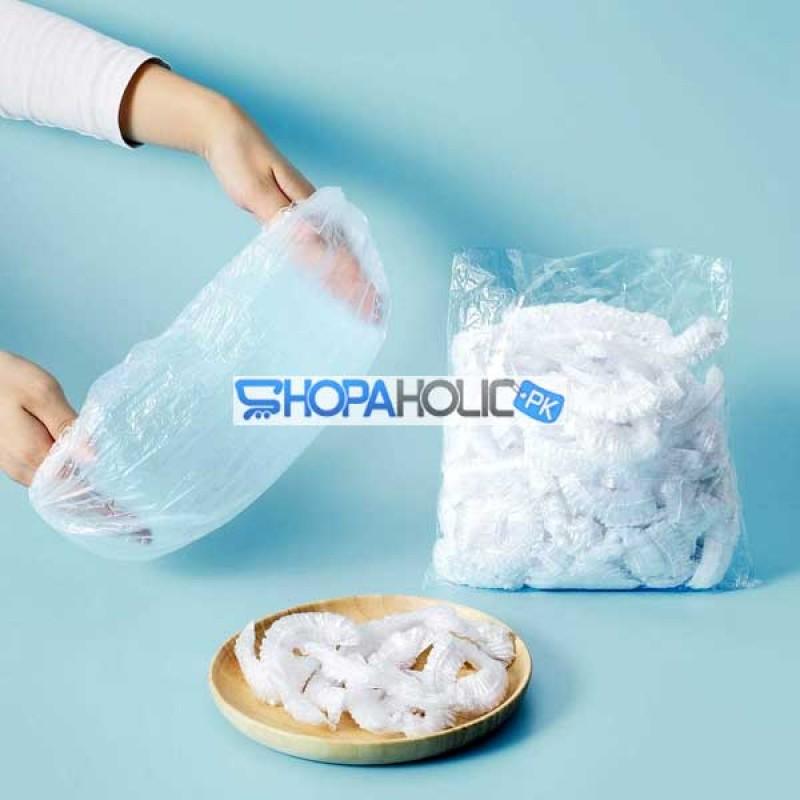 100Pcs Disposable Plastic Film Food Storage Cover