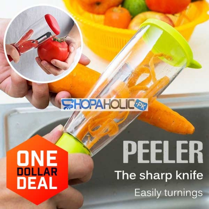 (One Dollar Deal) Peeler with Trash Can for Vegetable & Fruit