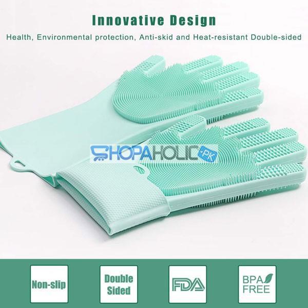 Magic Multifunction Silicone Dishwashing Gloves (Pair)