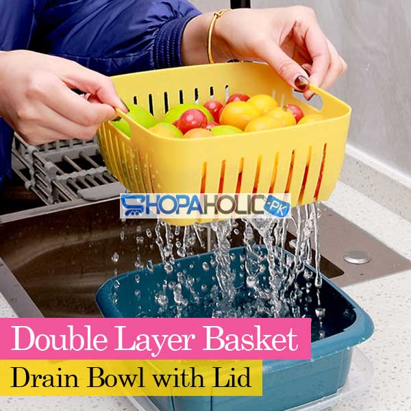 Double Layer Storage Drain Bowl Basket with Lid