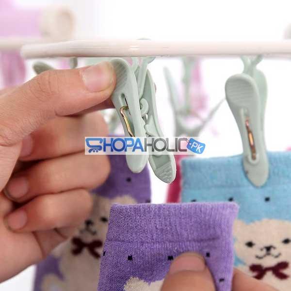 12 Pegs Foldable Rectangle Frame Clothing Hanger
