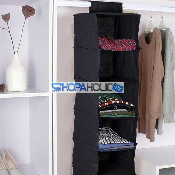 5 Layers Black Foldable Hanging Shelf Closet Organizer (100gsm)